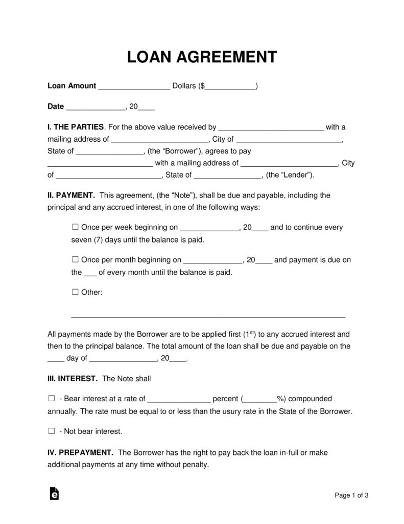 Free Loan Agreement Free Loan Agreement Templates Pdf Word Eforms Free Fillable