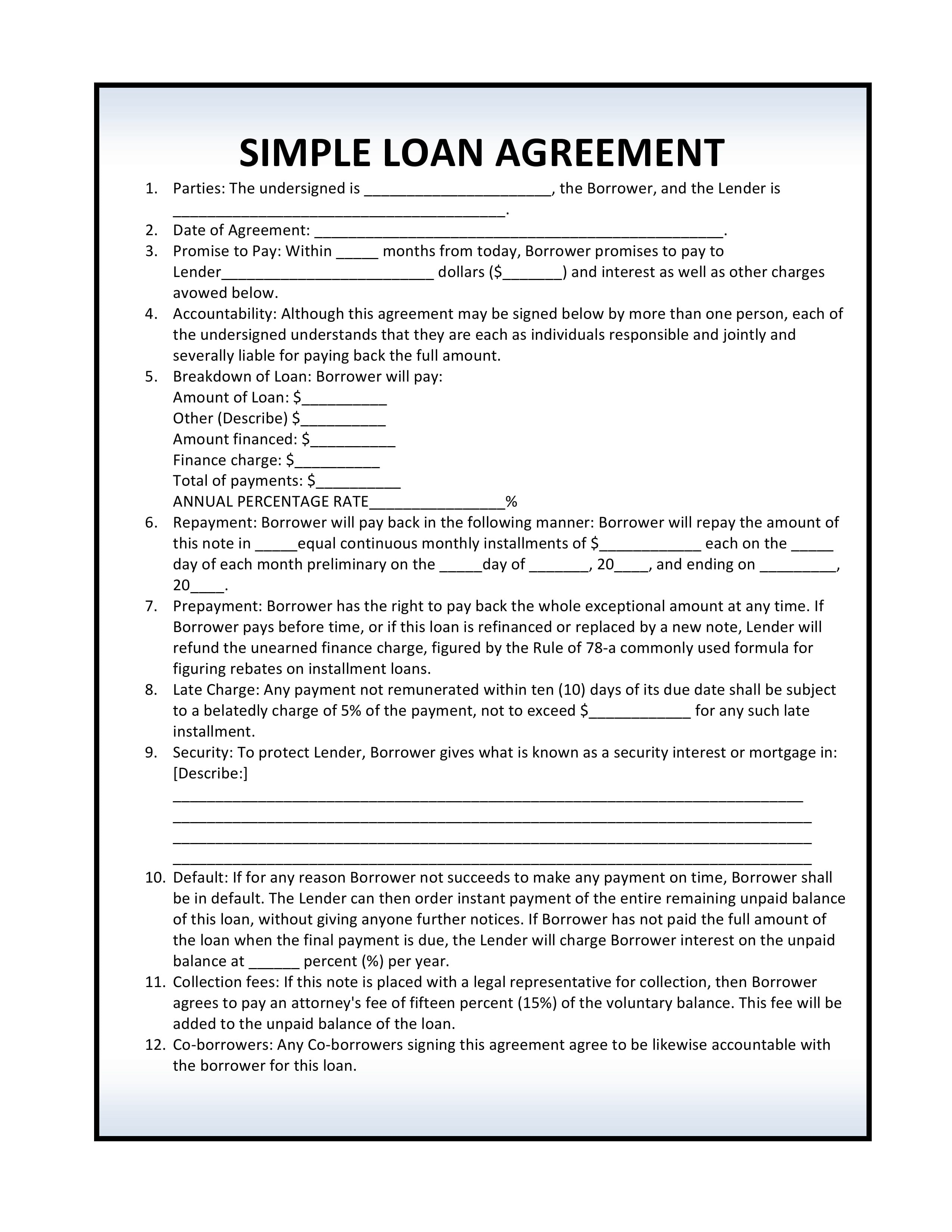 Free Loan Agreement Free Simple Loan Agreement Pdf Template Form Download