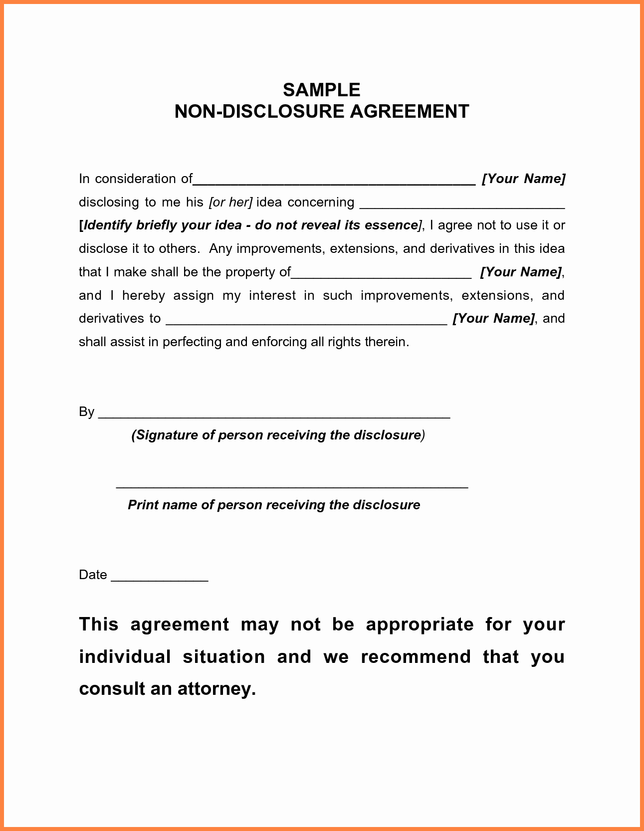 Free Non Disclosure Agreement Form 018 Free Non Disclosure Agreement Template Luxury Sample