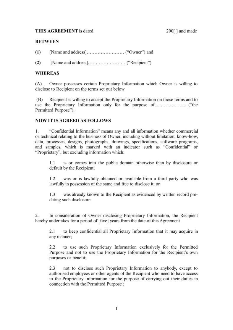 Free Non Disclosure Agreement Form 17 Non Disclosure Agreement Keeping The Companys Trade Secret