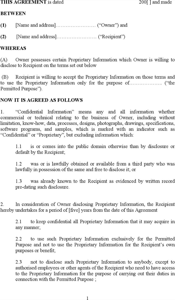 Free Non Disclosure Agreement Form 9 Standard Non Disclosure Agreement Form Free Download