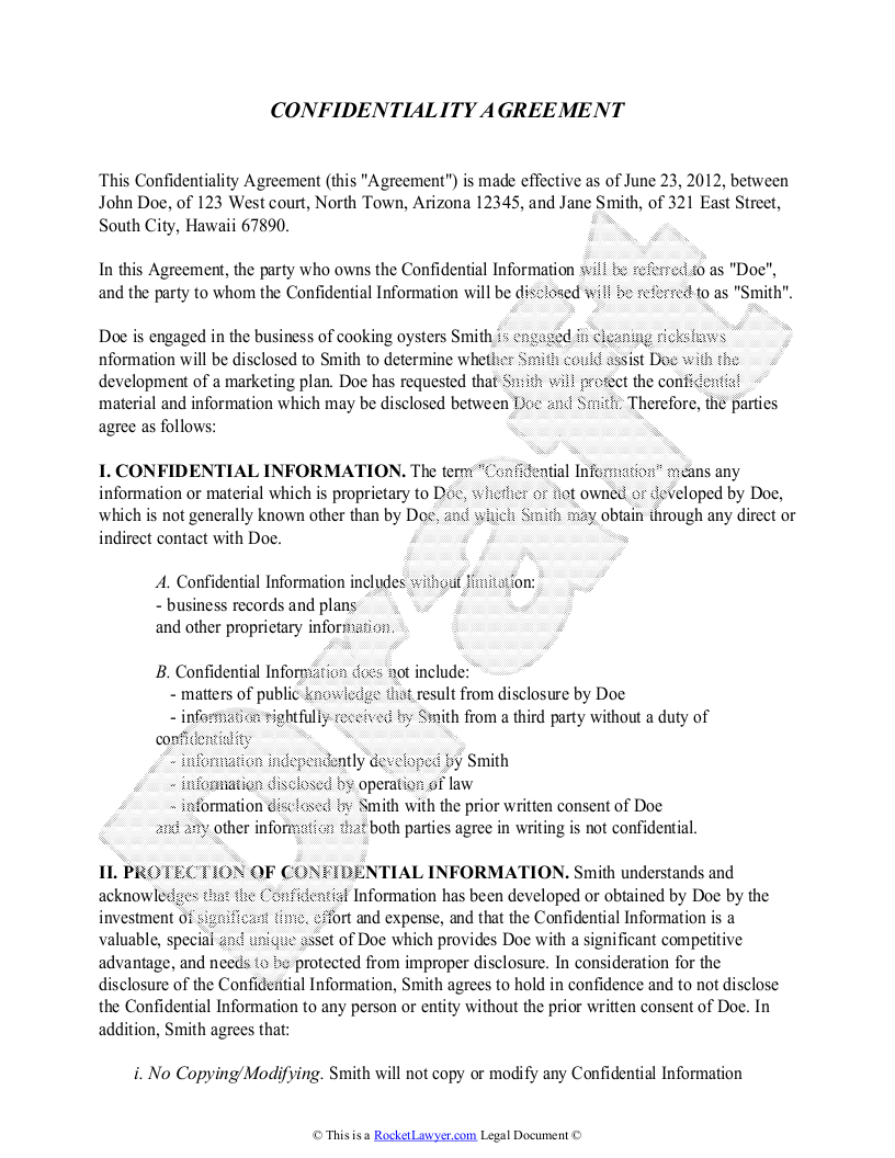 Free Non Disclosure Agreement Form Confidentiality Agreement Template Free Sample Confidentiality