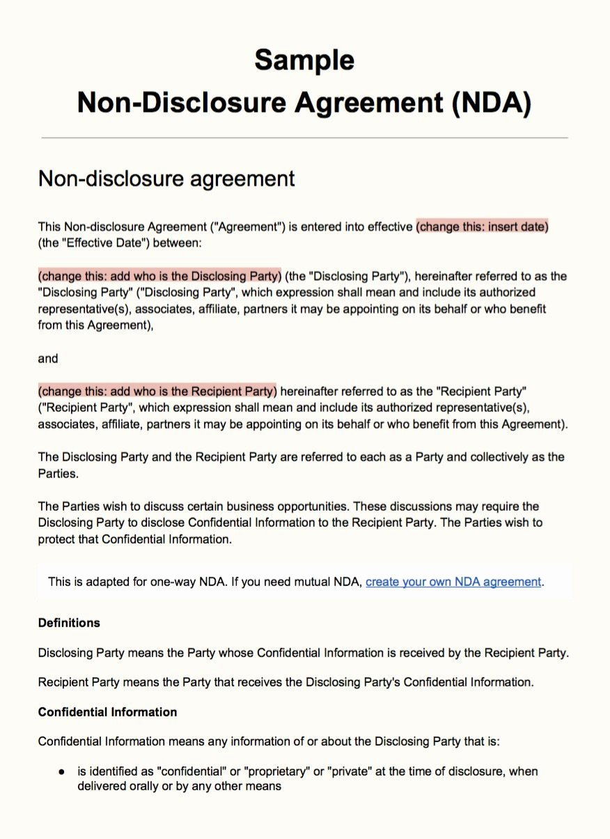 Free Non Disclosure Agreement Form Free Confidentiality Agreement Template Mathosproject