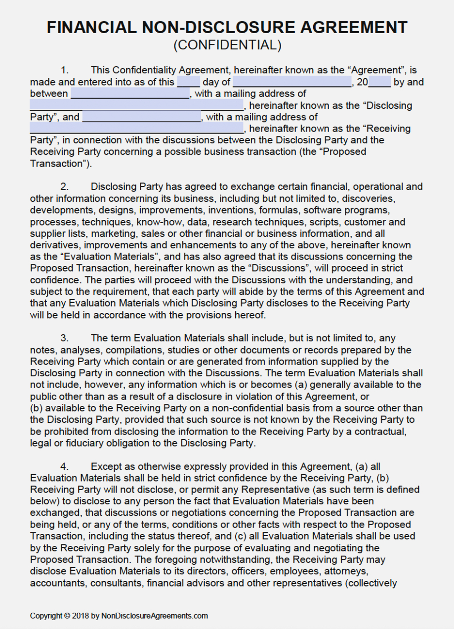 Free Non Disclosure Agreement Form Free Financial Non Disclosure Agreement Nda Template Pdf Word