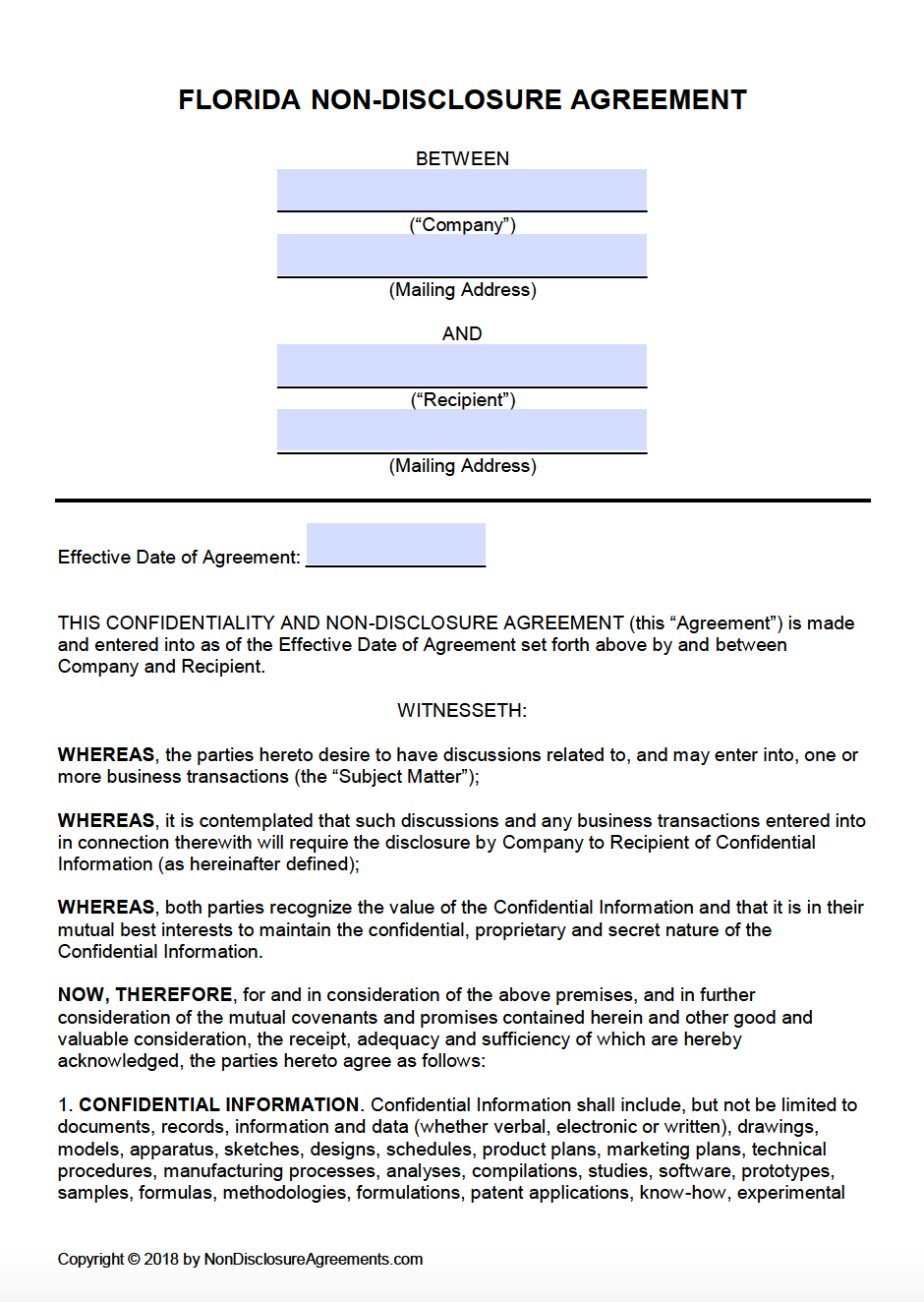 Free Non Disclosure Agreement Form Free Florida Non Disclosure Agreement Nda Template Pdf Word