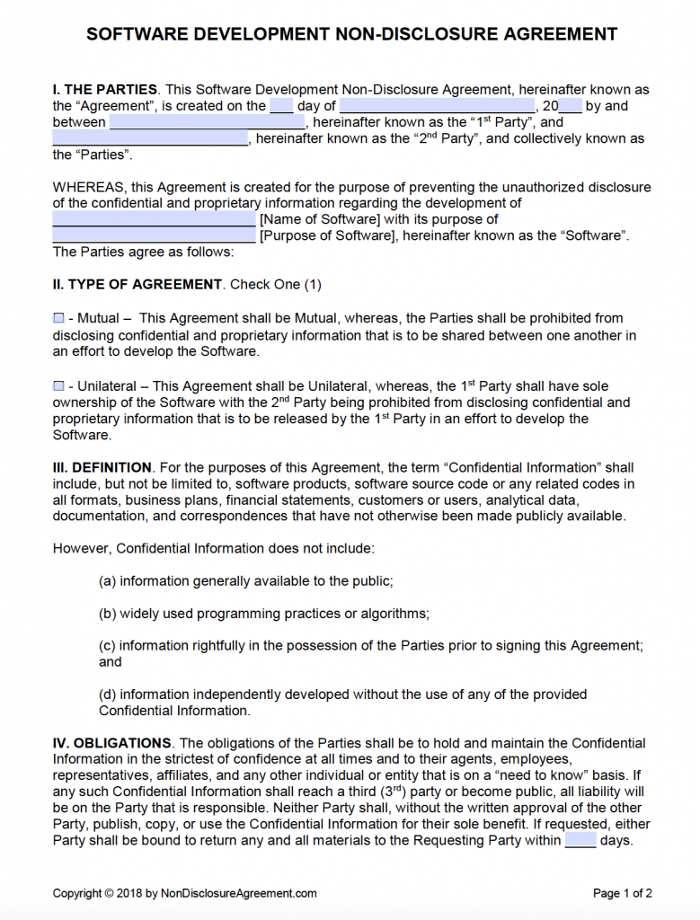 Free Non Disclosure Agreement Form Free Software Development Non Disclosure Agreement Nda Pdf