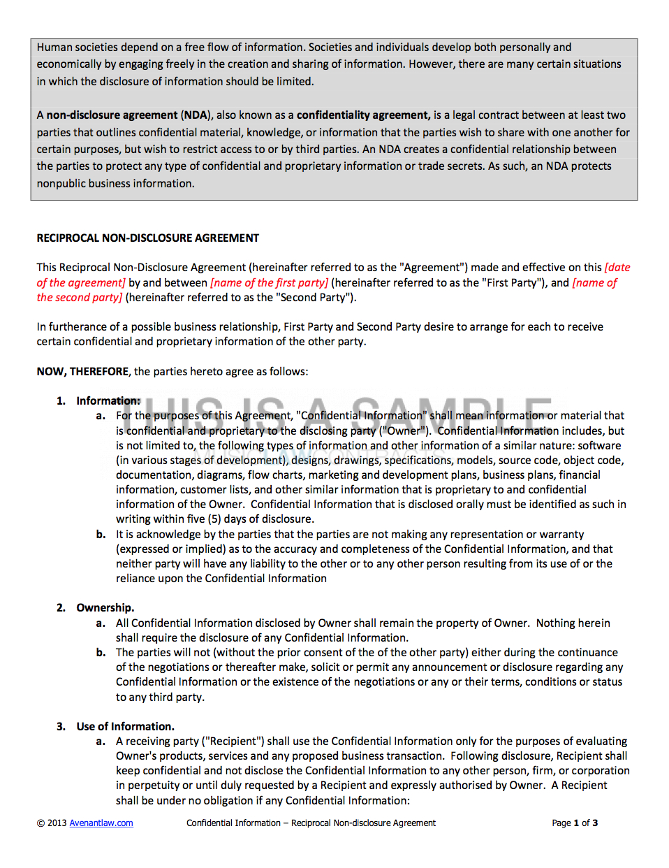 Free Non Disclosure Agreement Form Non Disclosure Agreement