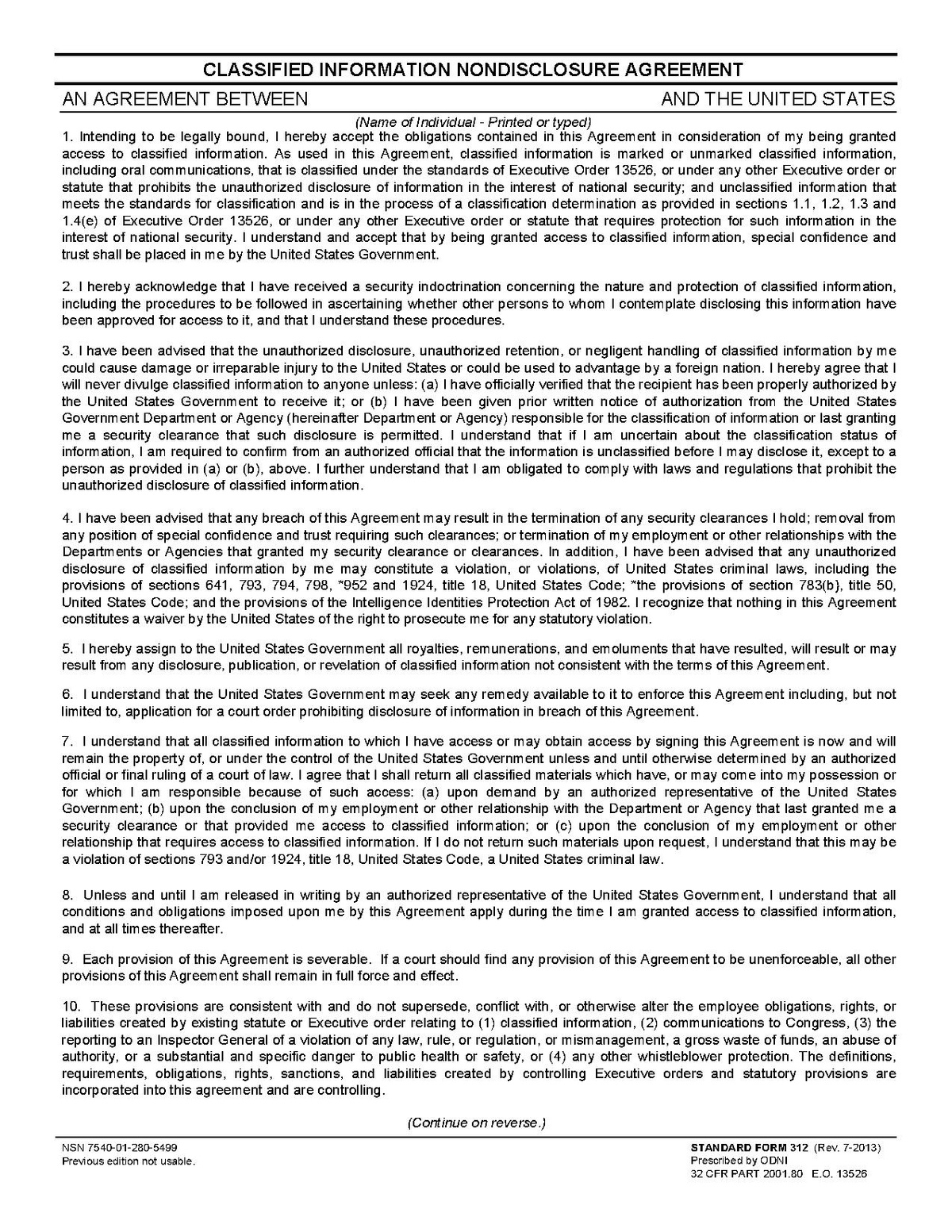 Free Non Disclosure Agreement Form Standard Form 312 Wikipedia