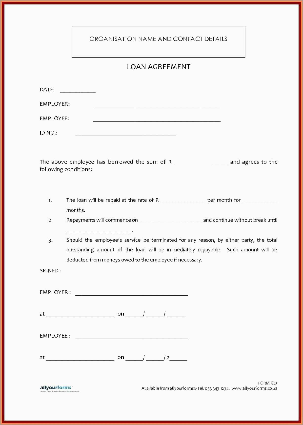 How To Write A Loan Agreement Awesome Free Loan Agreement Template Uk Best Of Template