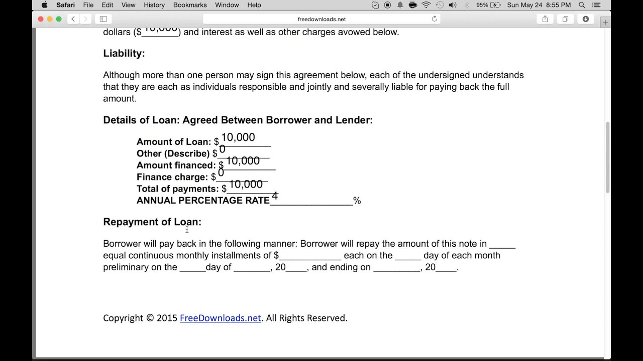 How To Write A Loan Agreement How To Write A Free Personal Loan Agreement Pdf Word