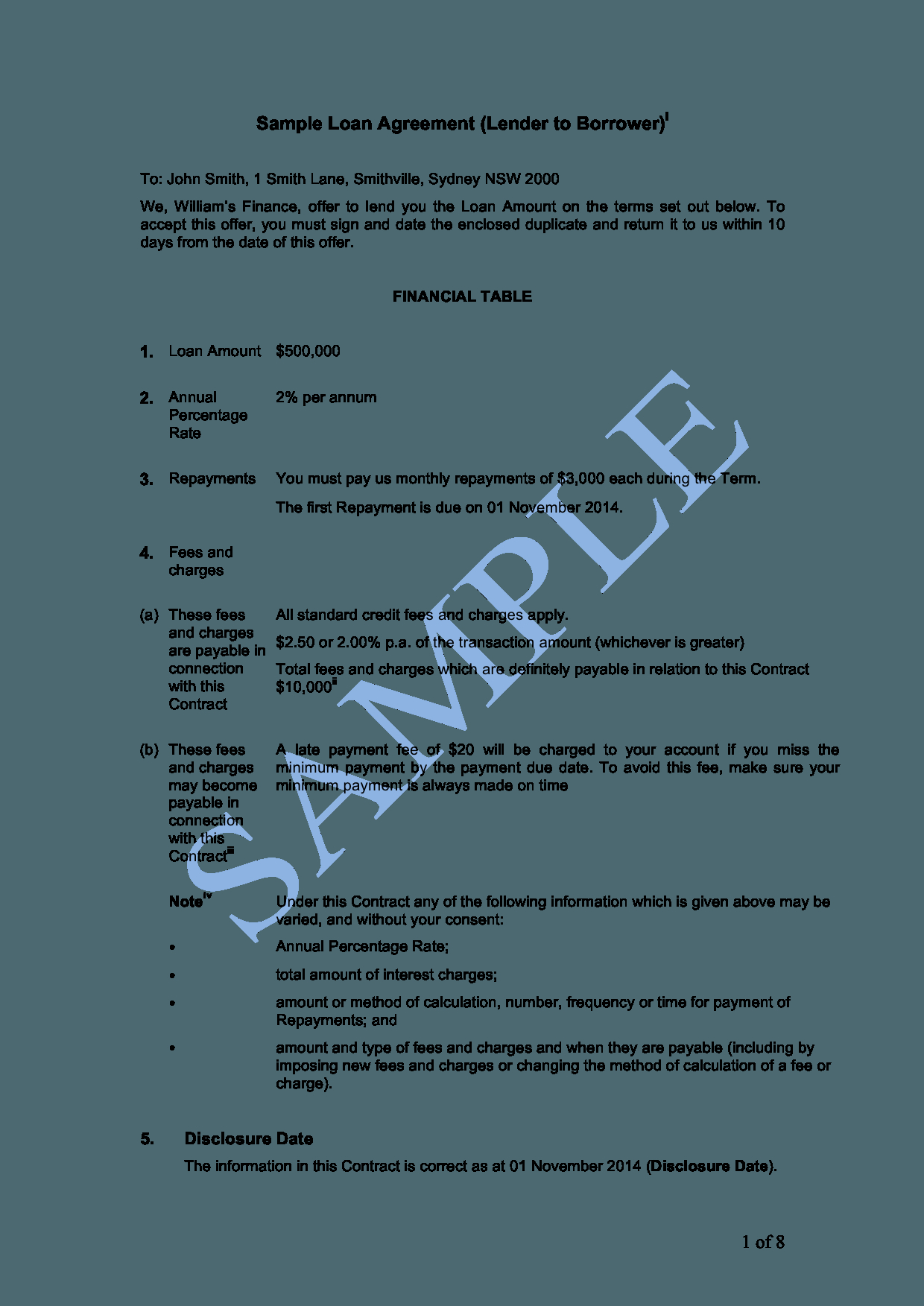How To Write A Loan Agreement Loan Agreement Lender To Borrower Sample Lawpath