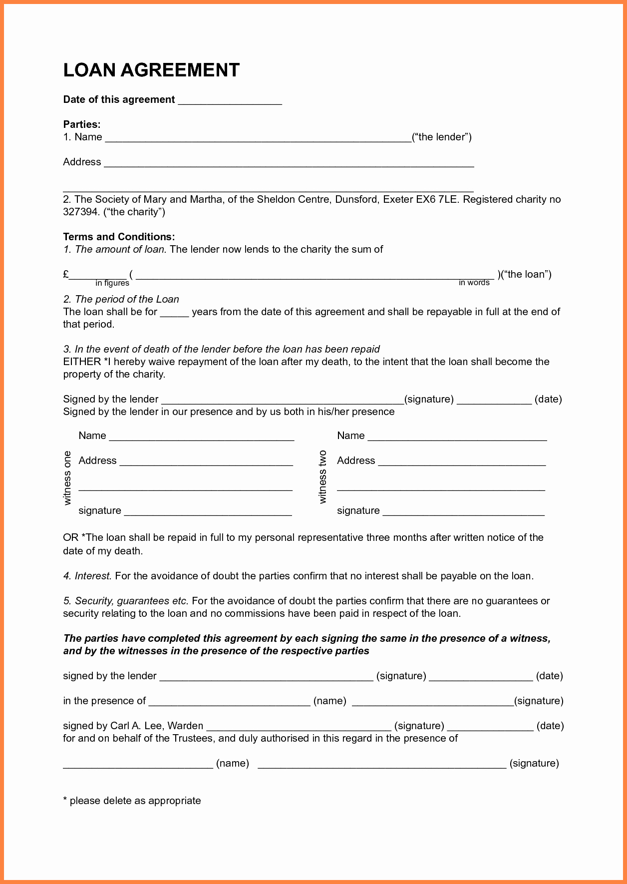 How To Write A Loan Agreement Personal Loan Contract Template Mathosproject