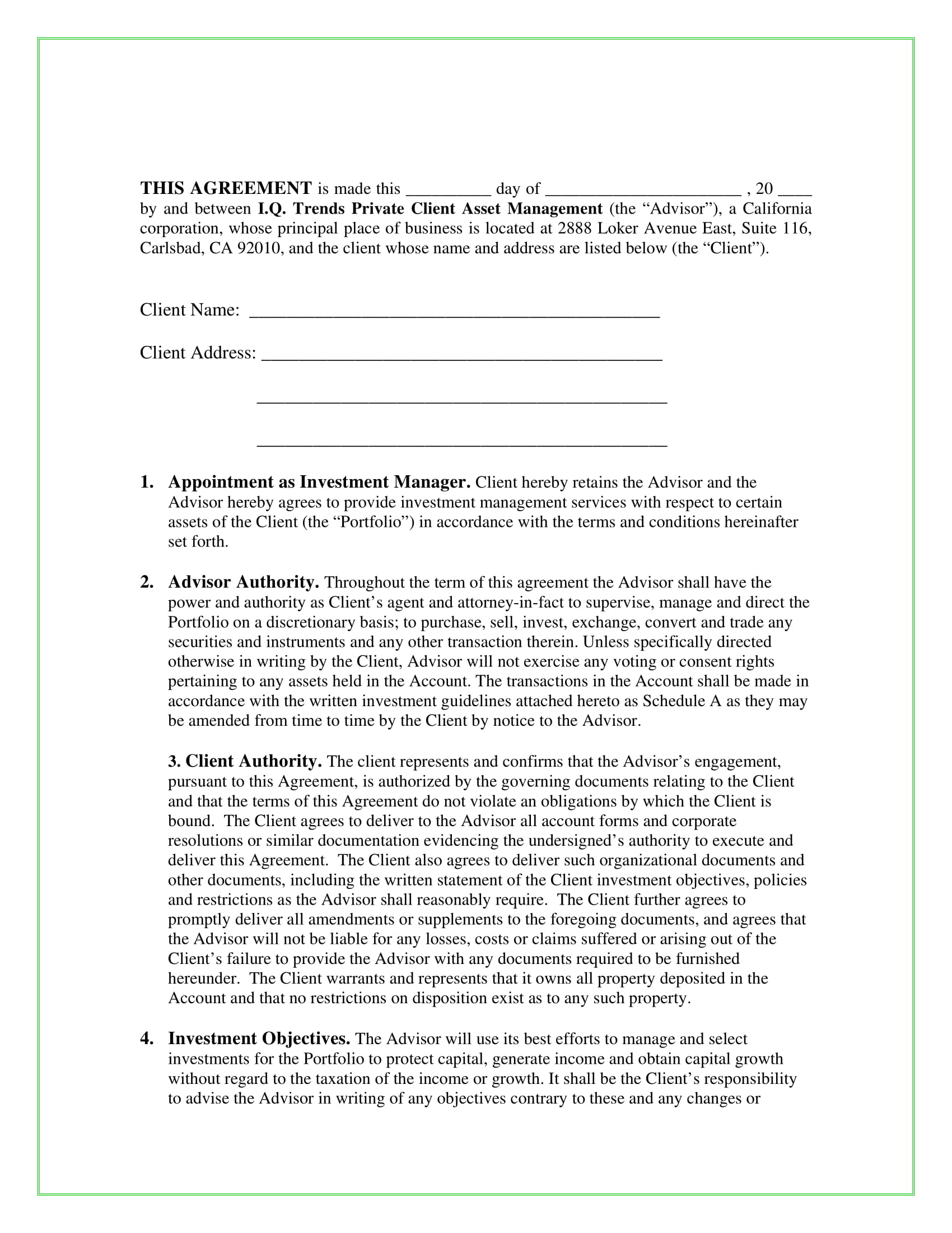 Investment Management Agreement 11 Management Services Agreement Pdf Doc Examples