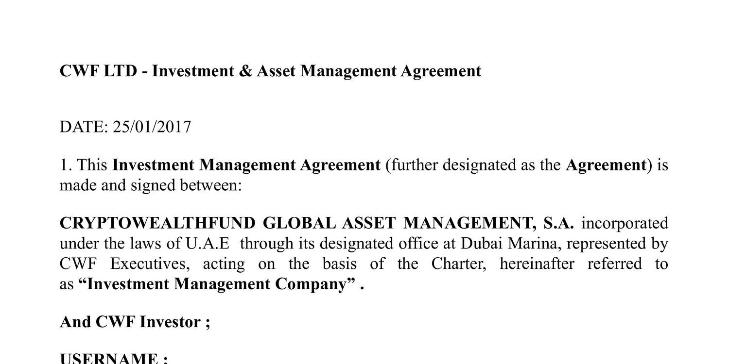Investment Management Agreement Cwf Ltd Investment Asset Managementpdf Docdroid