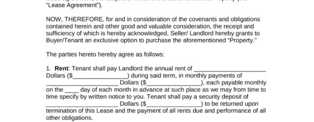 Lease And Purchase Agreement Free Residential Lease With An Option To Purchase Agreement Pdf