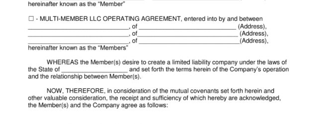 Llc Operating Agreement Form Free Llc Operating Agreement Templates Pdf Word Eforms Free