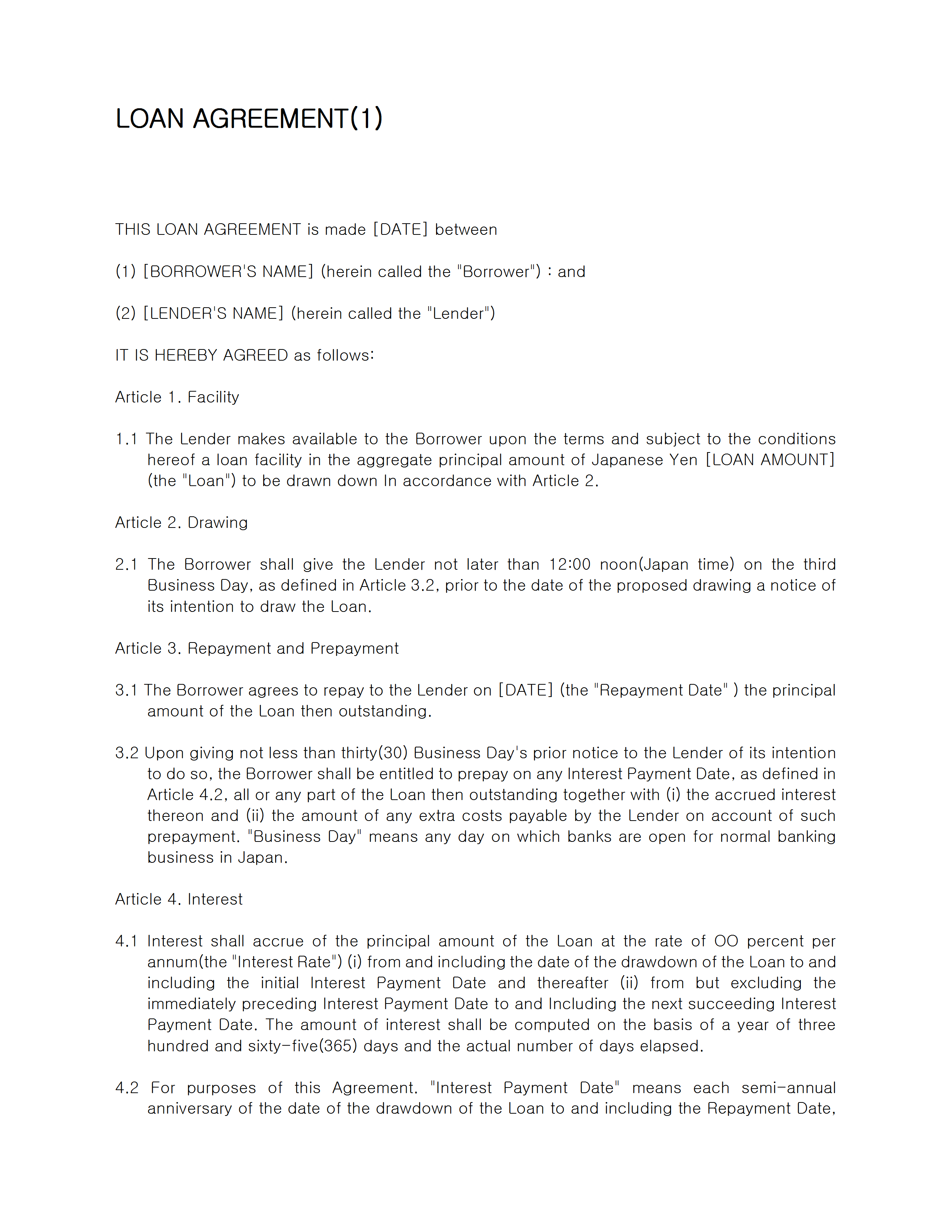 Loan Novation Agreement Loan Contract Template