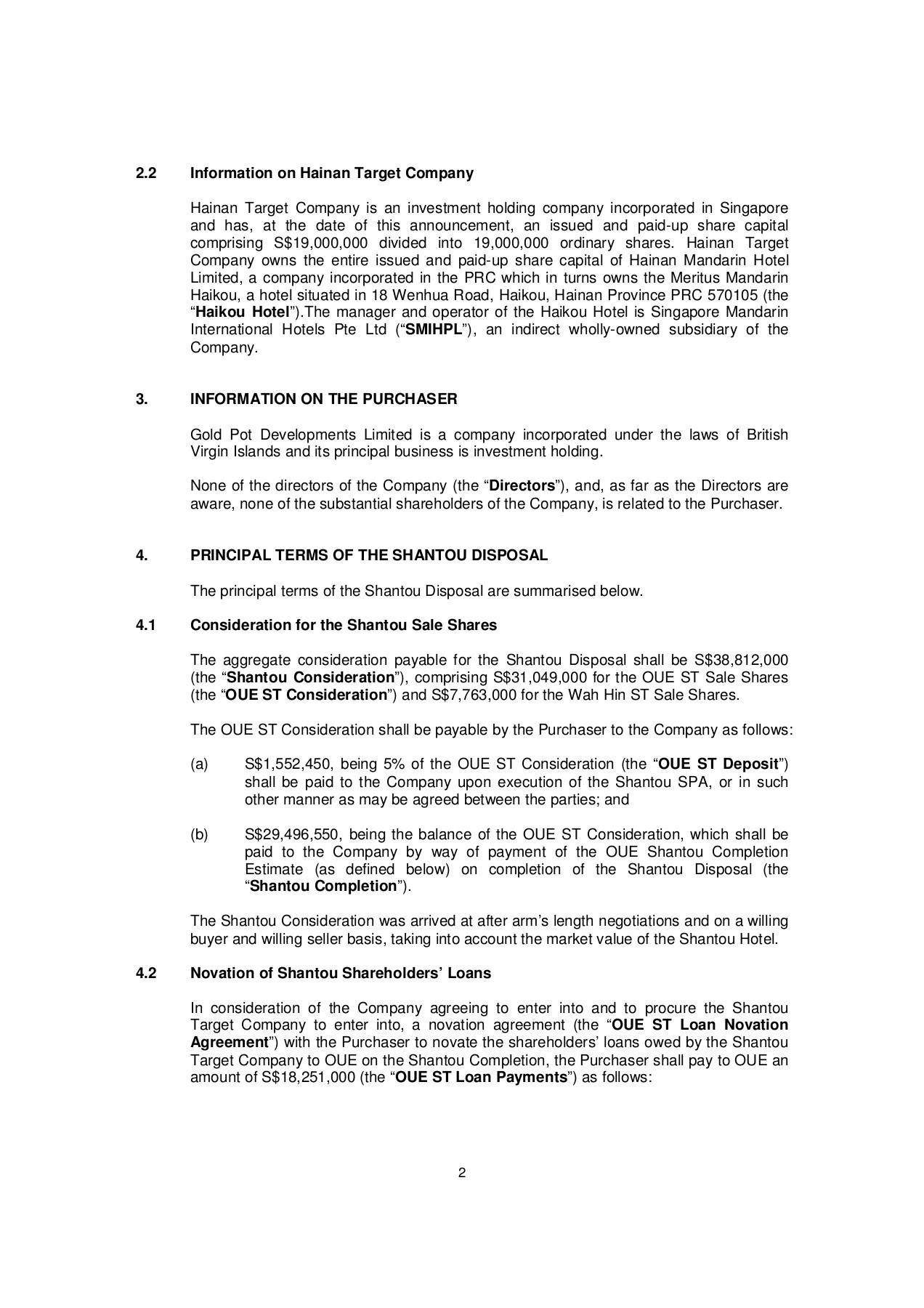 Loan Novation Agreement Project Coast Announcement On Proposed Disposals Draft 7 Pages