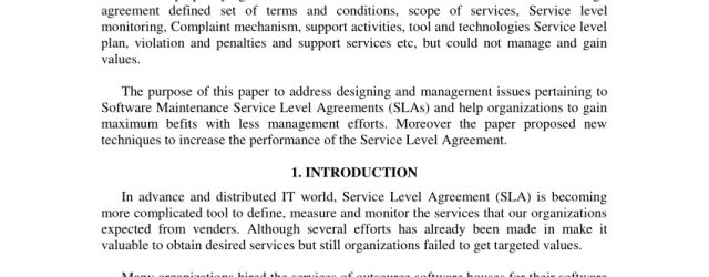 Maintenance Agreement Terms And Conditions Pdf Designing Software Maintenance Service Level Agreement In