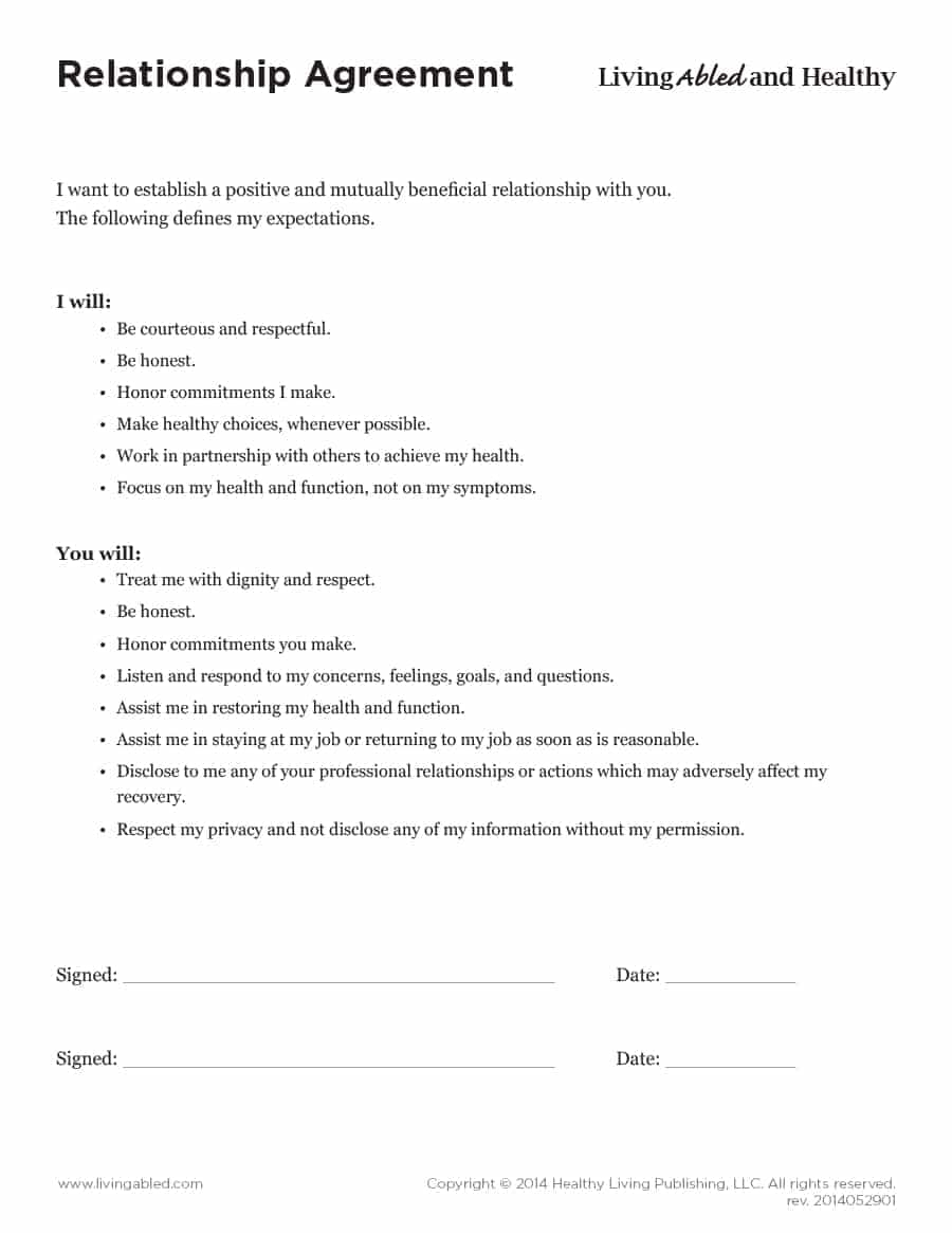 Marriage Termination Agreement 20 Relationship Contract Templates Relationship Agreements