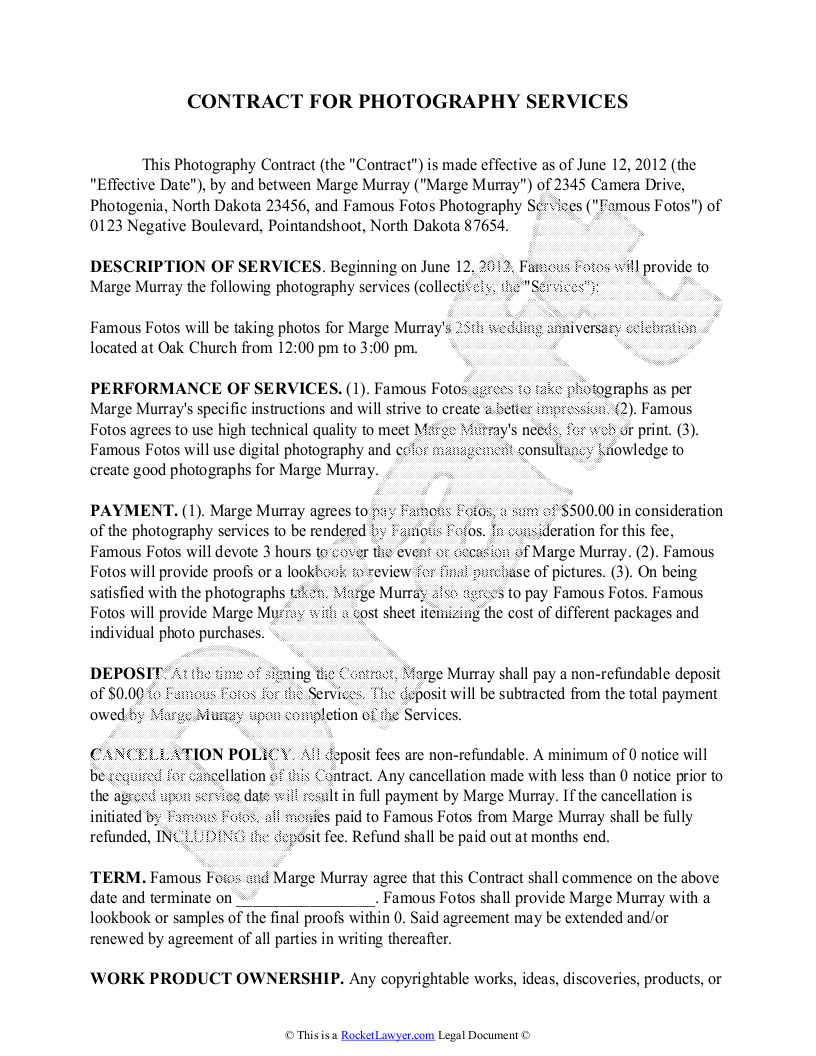 Marriage Termination Agreement Photography Contract Template Free Sample For Wedding Portrait