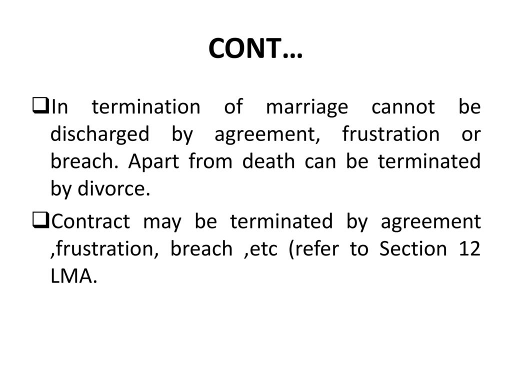 Marriage Termination Agreement The Law Of Mariage Act No 51971 Re 2002 Ppt Download