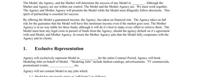 Modeling Agreement Contract Mother Agency Modeling Contract