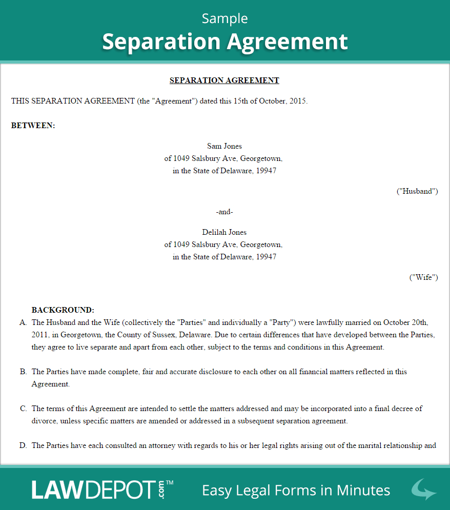 Nc Separation Agreement Template Separation Agreement Template Us Lawdepot