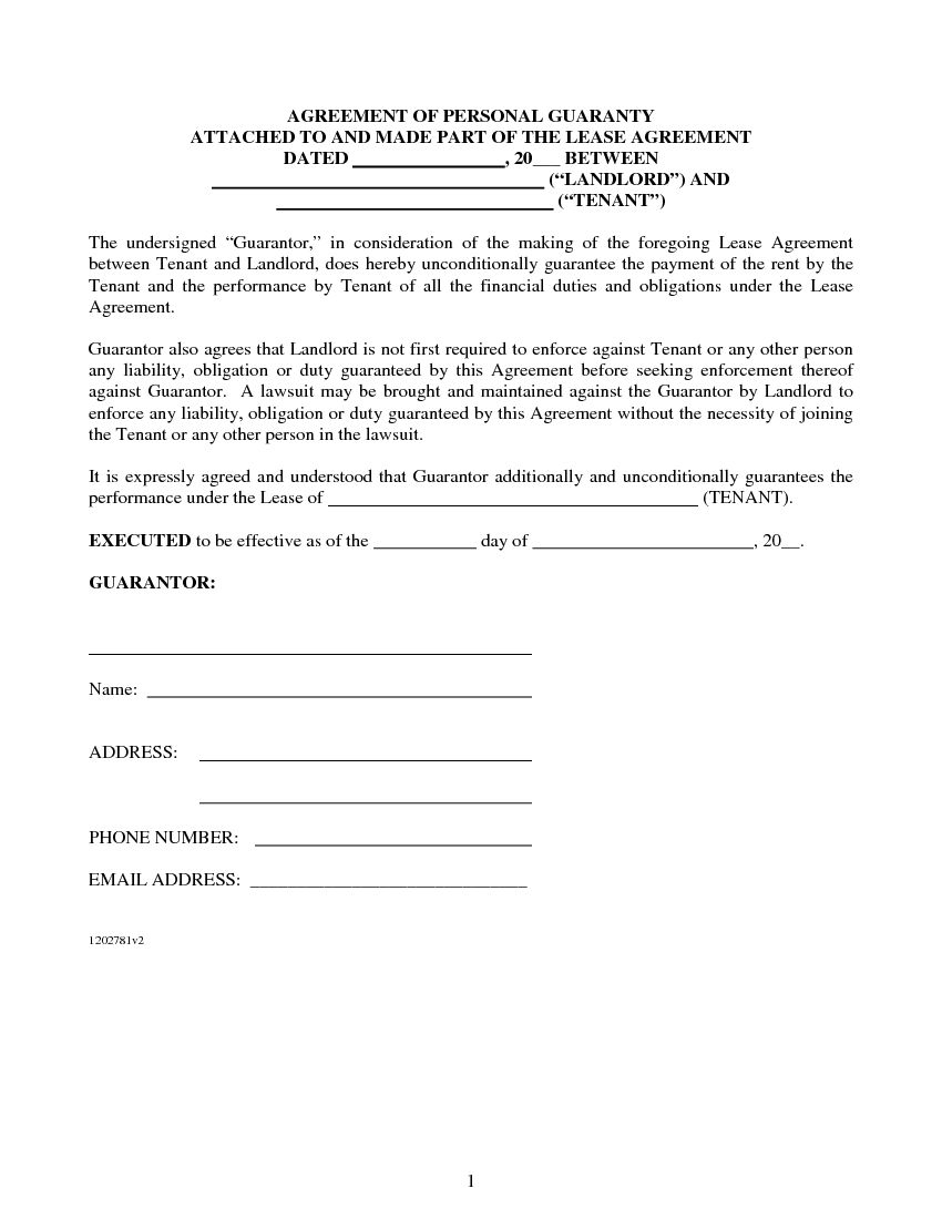 Oklahoma Lease Agreement Download Free Agreement Of Personal Guaranty For Lease Agreement
