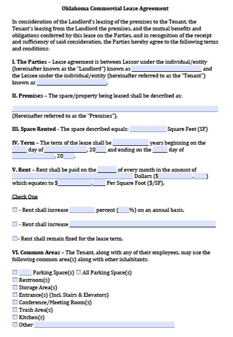 Oklahoma Lease Agreement Free Oklahoma Commercial Lease Agreement Template Pdf Word Doc