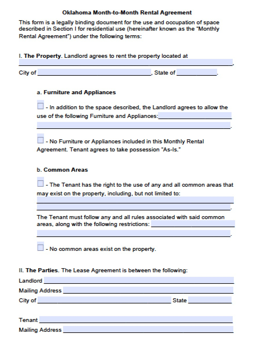 Oklahoma Lease Agreement Free Oklahoma Month To Month Lease Agreement Template Pdf Word