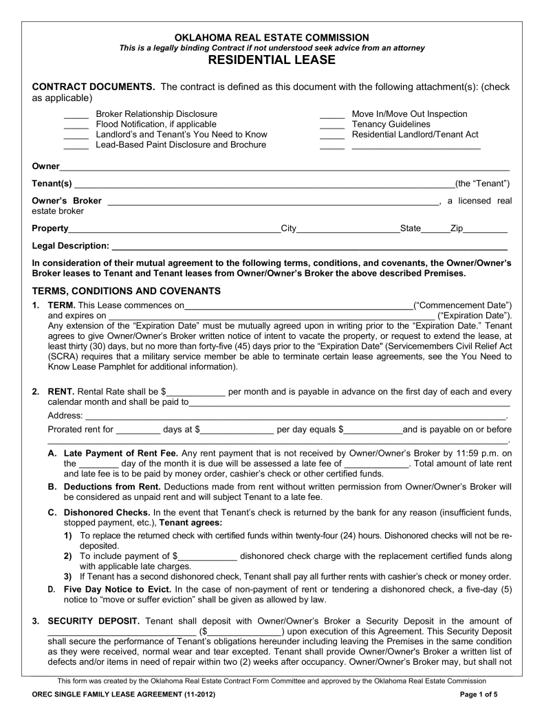 Oklahoma Lease Agreement Free Oklahoma Standard Residential Lease Agreement Template Word