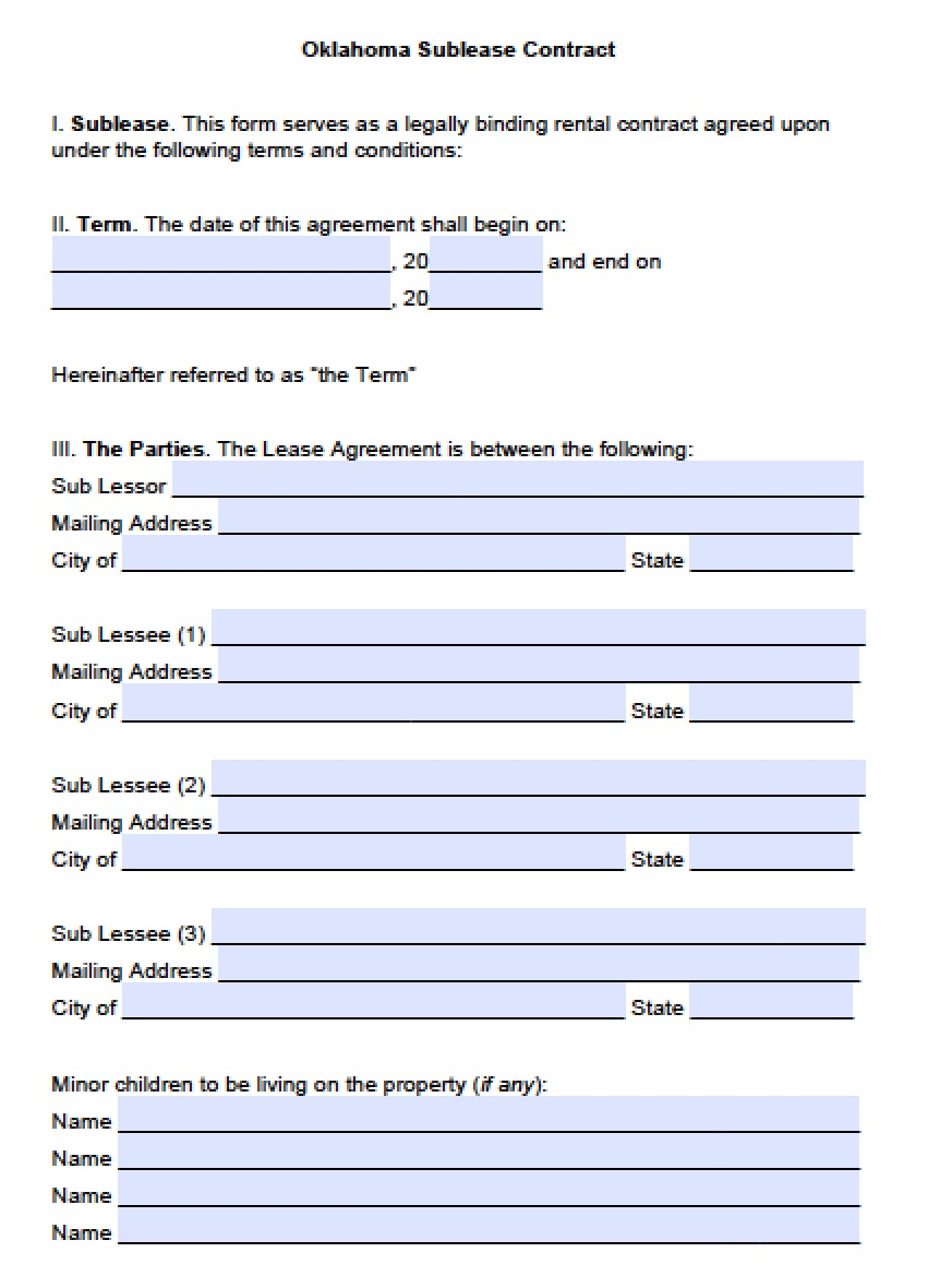 Oklahoma Lease Agreement Free Oklahoma Sublease Agreement Template Pdf Word Doc