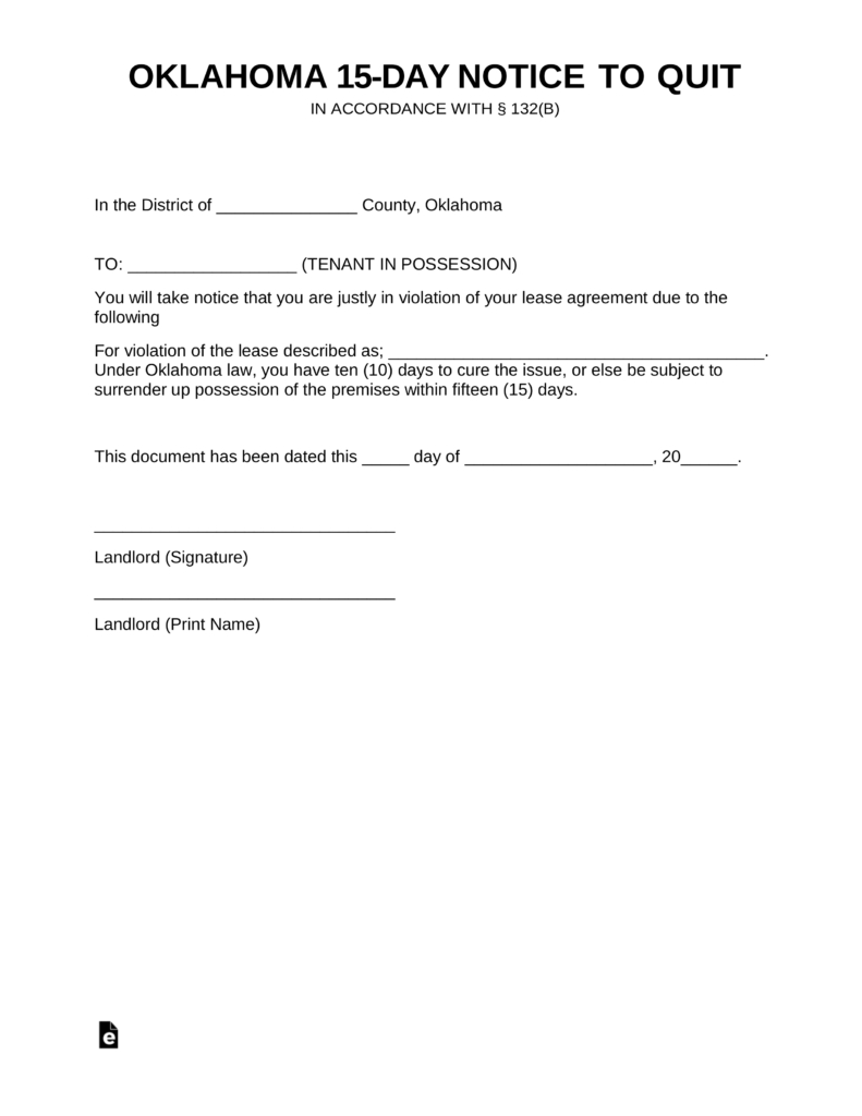 Oklahoma Lease Agreement Oklahoma 1015 Day Notice To Quit Form Non Compliance Eforms