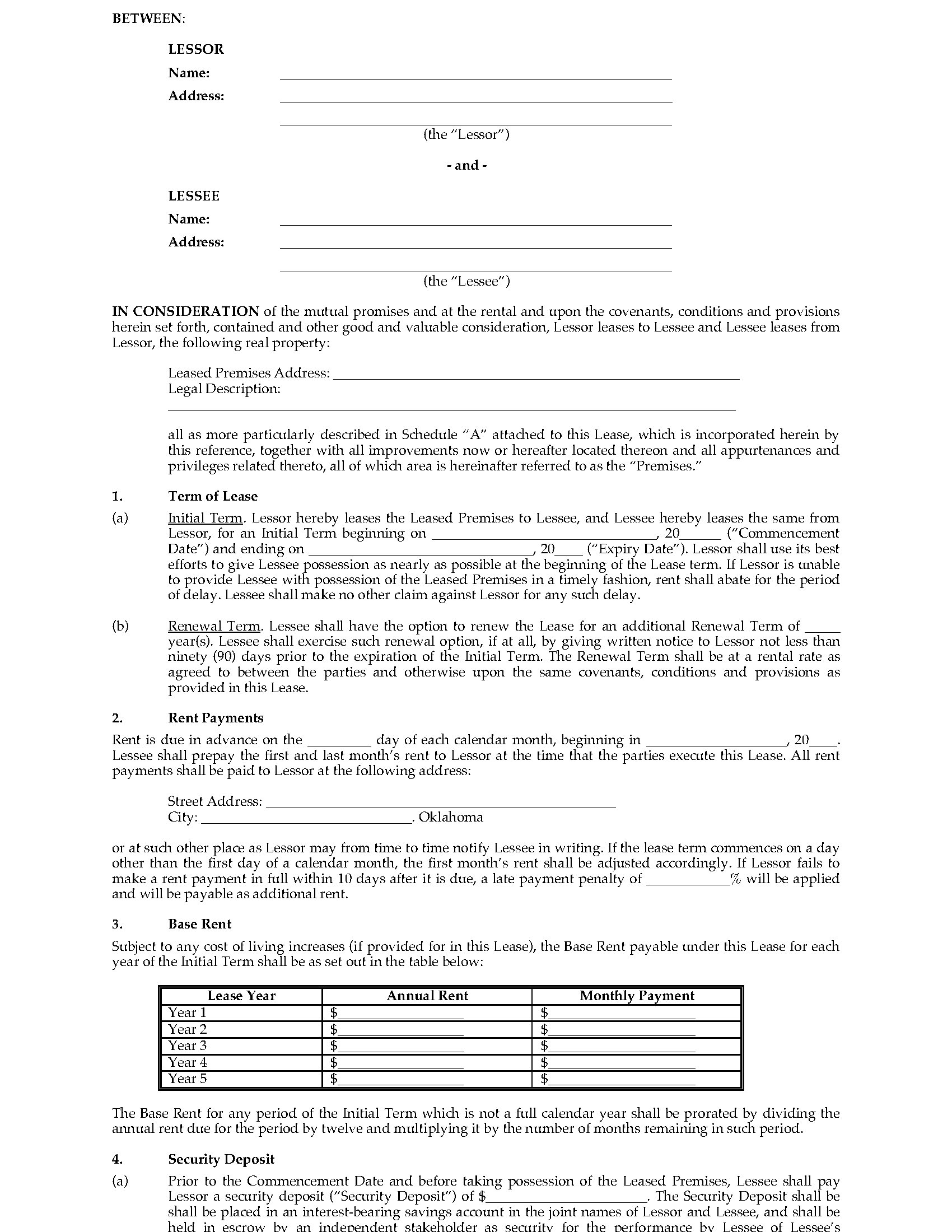 Oklahoma Lease Agreement Oklahoma Commercial Triple Net Lease Agreement