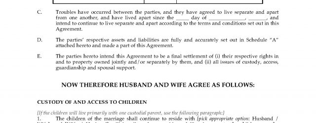 Ontario Legal Separation Agreement Template Canada Separation Agreement