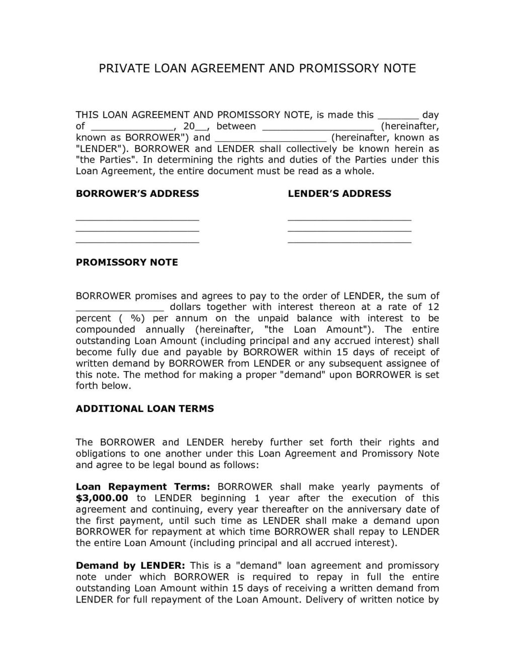 Personal Loan Agreement Letter Private Personal Loan Agreement Contract Template And Promissory