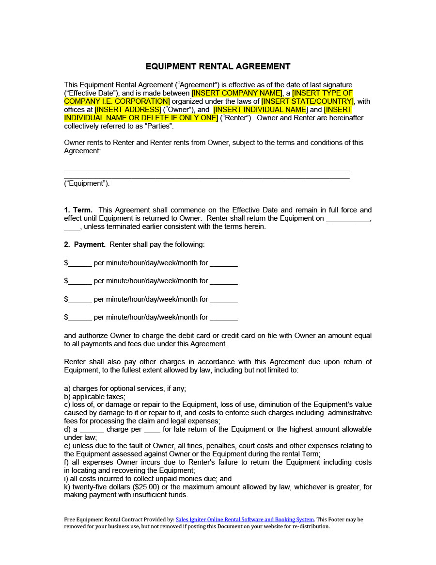 Rental Agreement Contract 44 Simple Equipment Lease Agreement Templates Template Lab