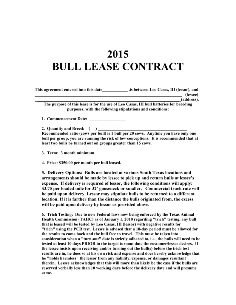 Rental Agreement Contract Bull Lease Agreement