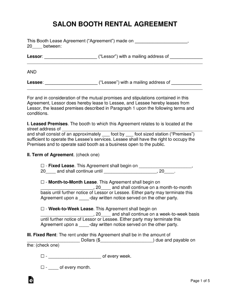 Rental Agreement Contract Free Booth Salon Rental Lease Agreement Pdf Word Eforms