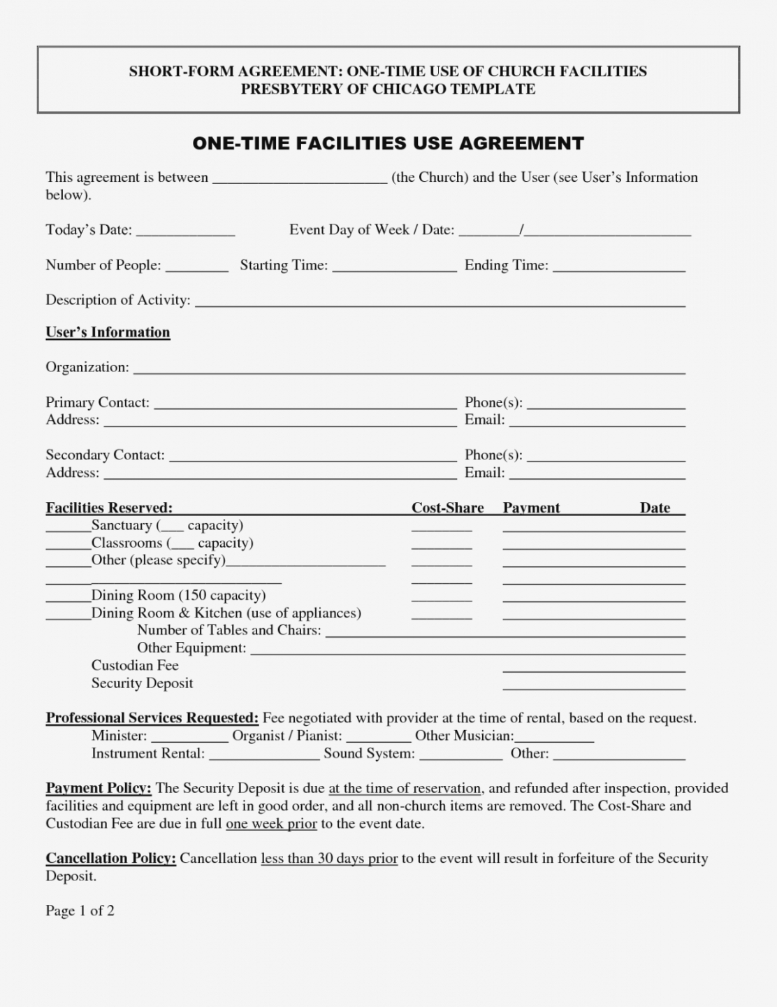 Rental Agreement Contract Printable Best Photos Of Agreement Form Template Blank Contract