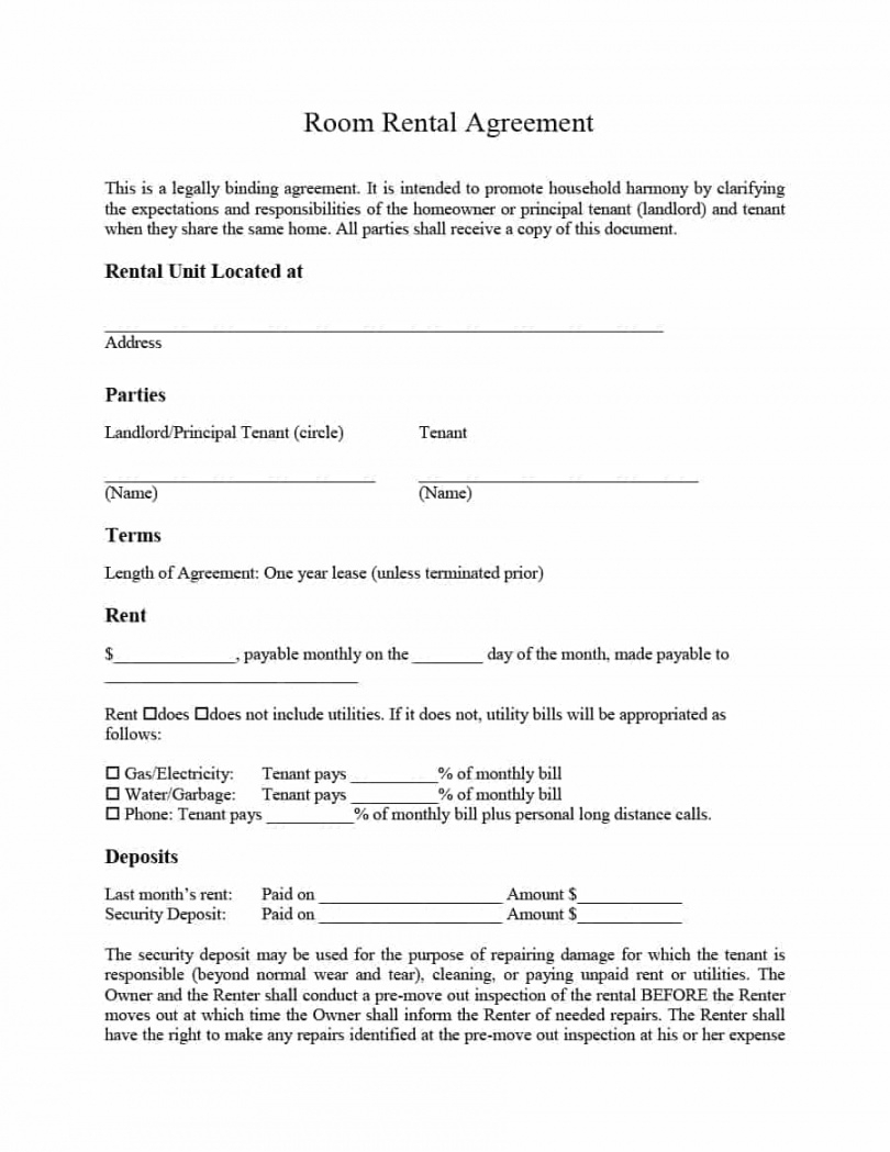 Rental Agreement Contract Room Rental Lease Agreement Template