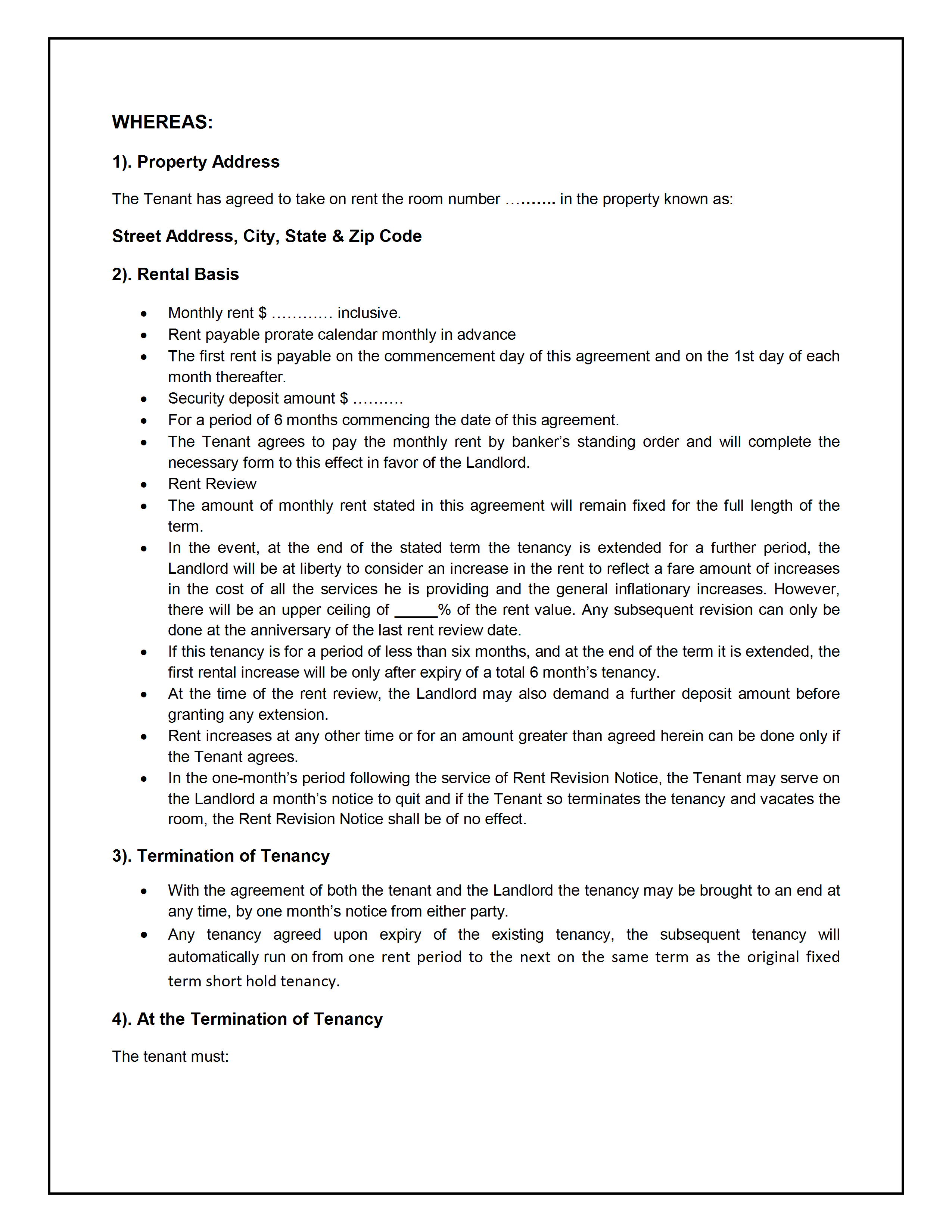 Rental Agreement Contract Tenancy Agreement Template