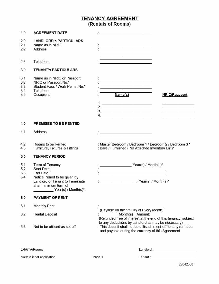 Rental Agreement Free Form 39 Simple Room Rental Agreement Templates Template Archive