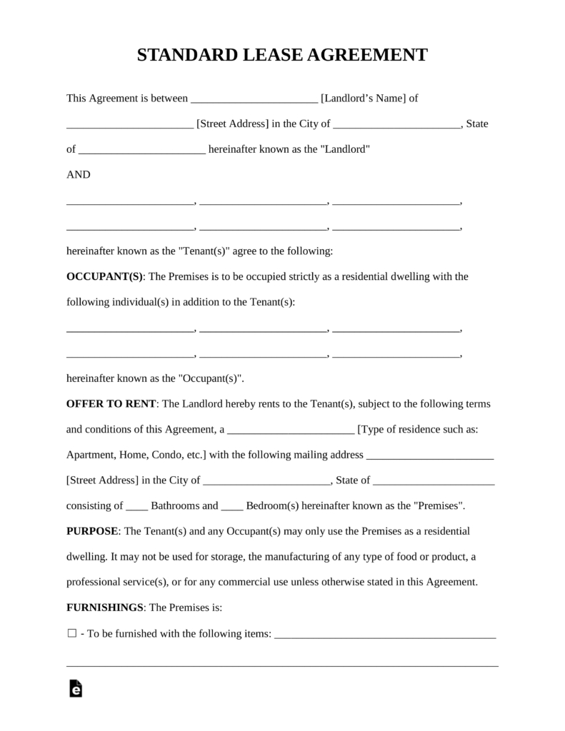Rental Agreement Free Form Free Rental Lease Agreement Templates Residential Commercial