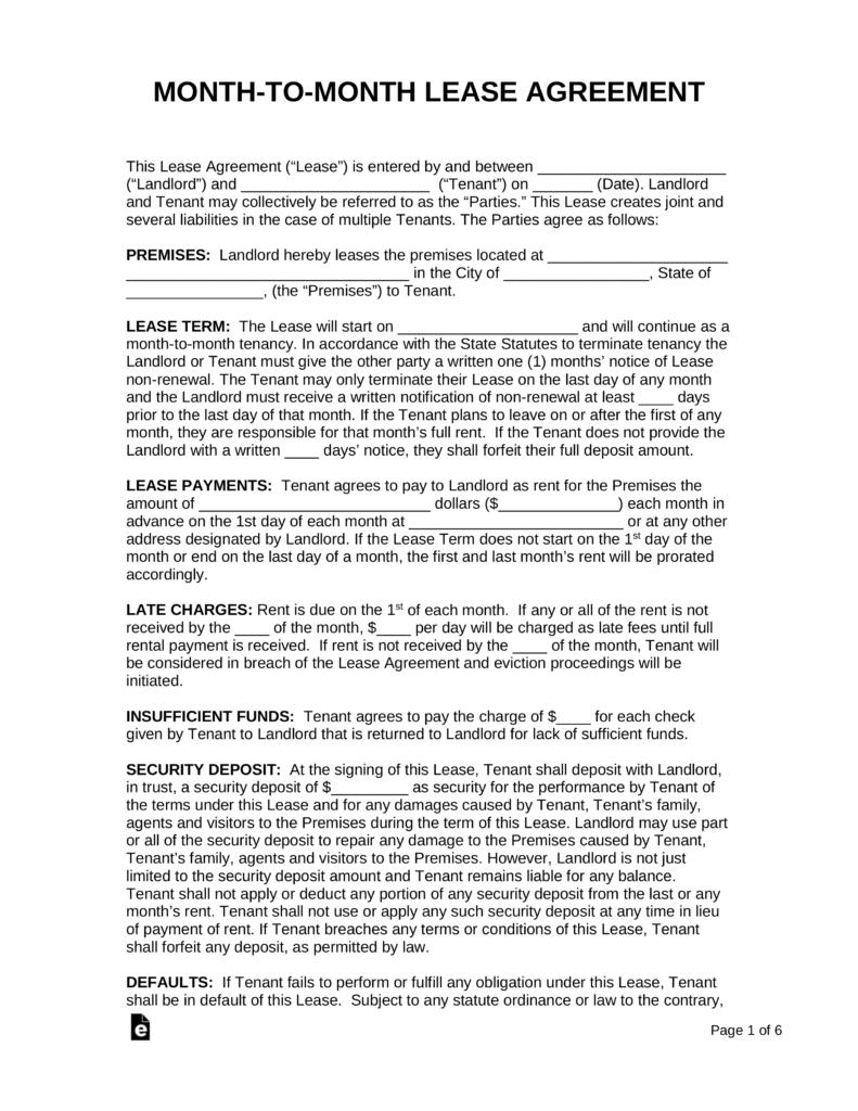 Rental Agreement Free Form Month To Month Lease Agreement Templates Eforms Free Fillable Forms