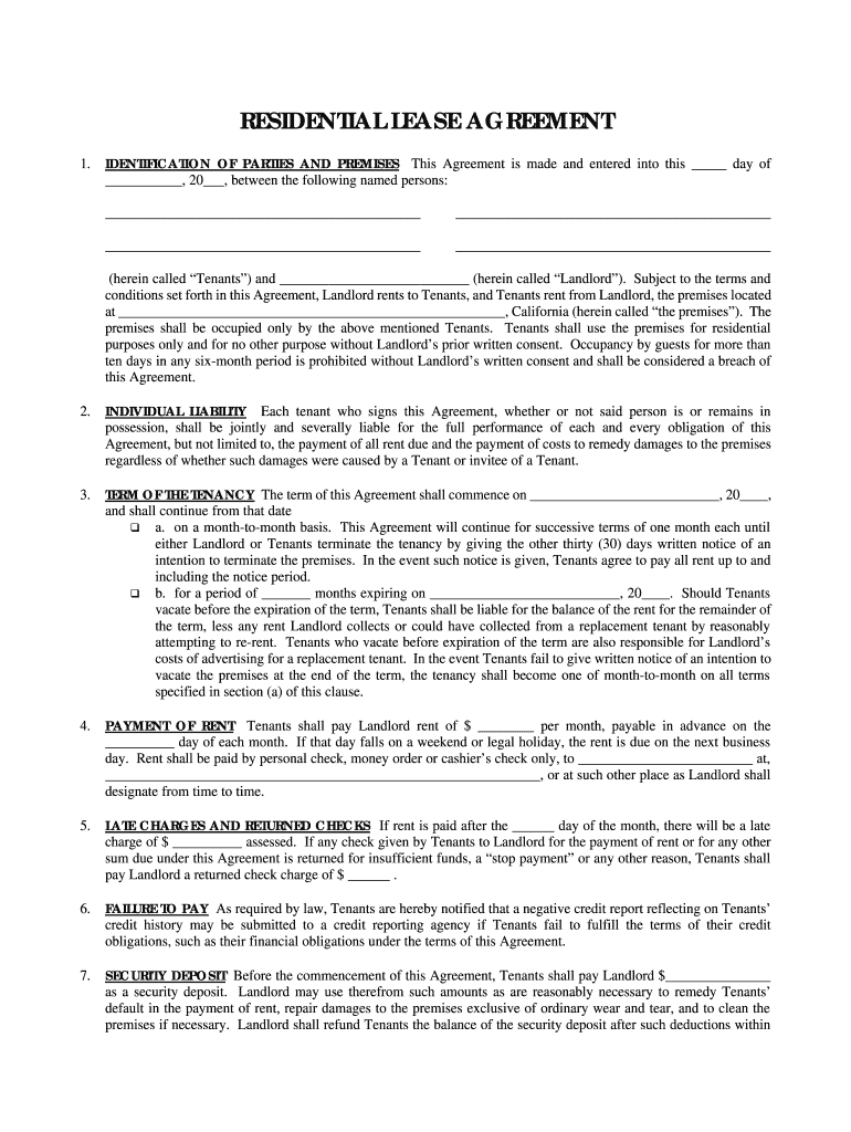 Rental Agreement Free Form Simple One Page Lease Agreement Fill Online Printable Fillable
