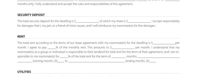 Room Rental Agreement Texas Free Texas Roommate Agreement Template Pdf Eforms Free