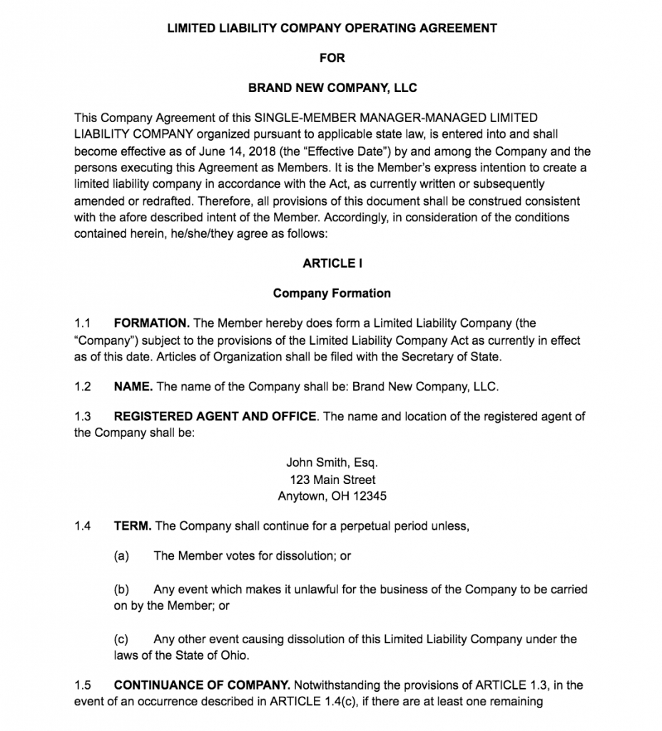 S Corp Operating Agreement Template 009 Template Ideas Free Operating Agreement Word Image Magnificent