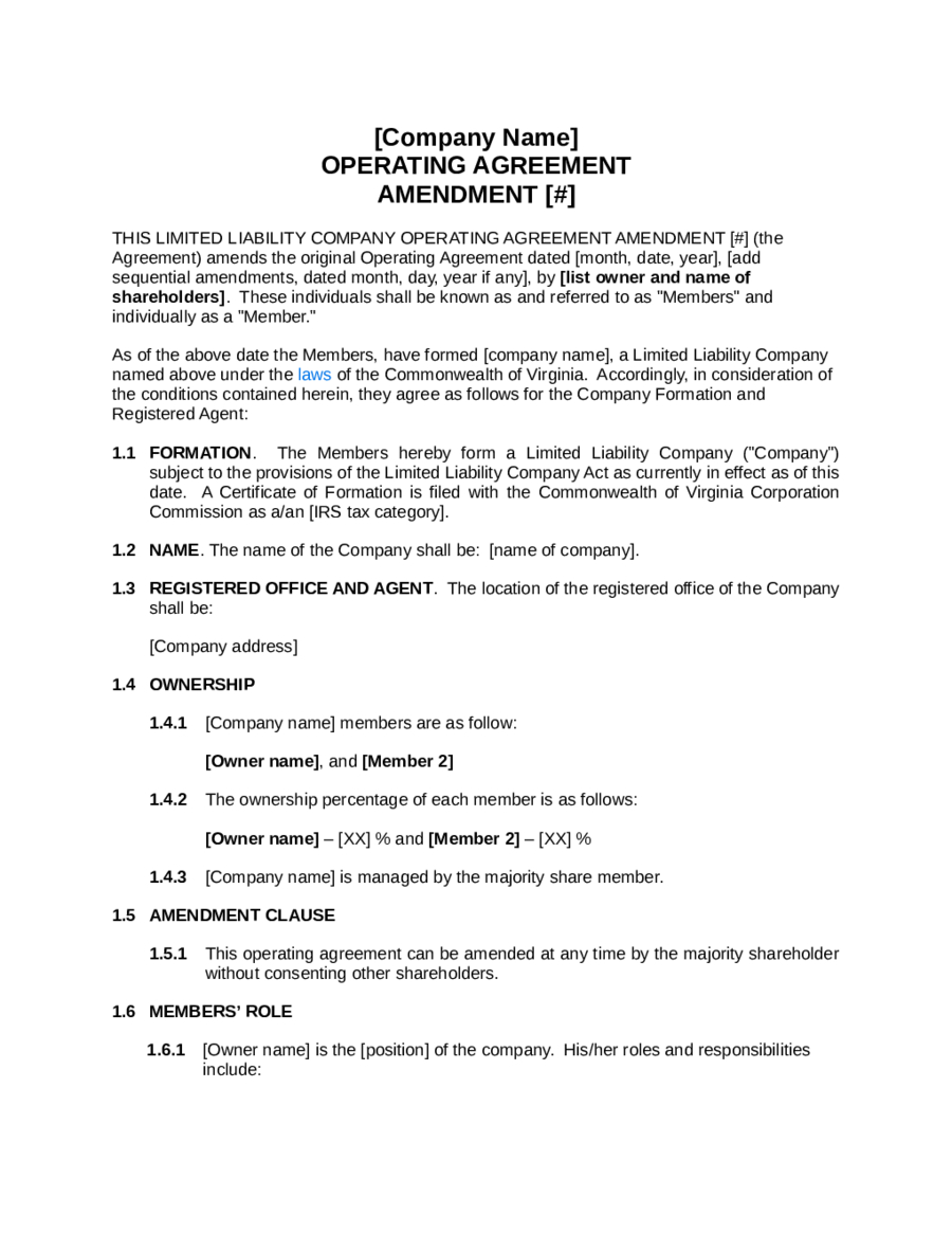 S Corp Operating Agreement Template 2019 Llc Operating Agreement Template Fillable Printable Pdf